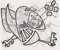 """010"" subliminal pen and ink drawing in the ""Freaky Faces"" series by John E. Pendleton"