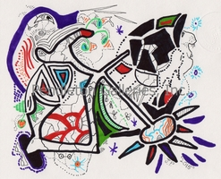 """048"" subliminal art pen and ink drawing in the ""Freaky Faces"" series by John E. Pendleton"